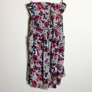 Torrid Strapless Floral Polka Dot Dress